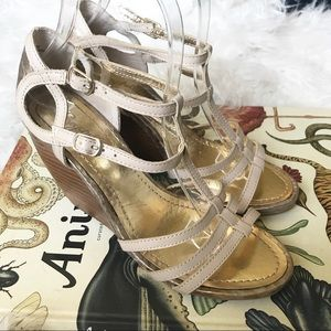 Seychelles tan and gold wood wedge sandals